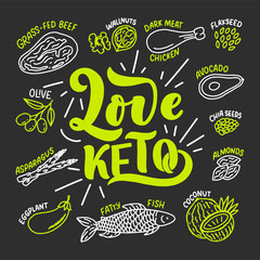 Sketch lettering with green keto diet doodle elements for concept design. Hand drawn illustration. Food for Ketogenic