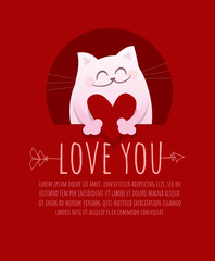 Love you. Cute romantic cat with heart on red background. Vector elements for greeting card, postcard, poster, banner, invitation. Can be add text. Valentine's day