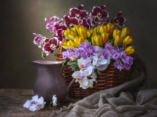 Still life with bouquet of orchids