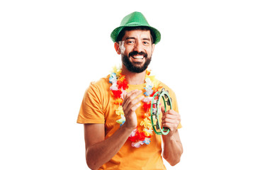 Portrait of young brazilian man wearing carnival costume