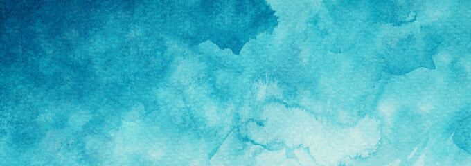 Abstract watercolor blue azure turquoise textured background web banner