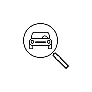 car, front, magnifier, glass outline icon. Can be used for web, logo, mobile app, UI, UX
