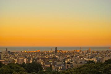 sunset barcelona skyline