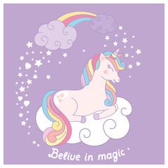 Hand drawn cartoon vector card with cute unicorn.
