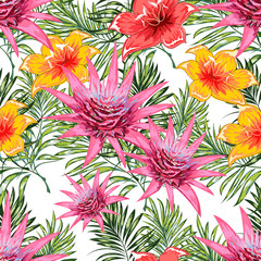 Seamless pattern of a tropical palm tree, jungle leaves and flowers. Hand drawing. Vector floral pattern.