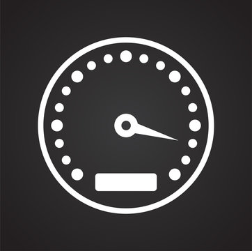 Analog gauge meter on black background for graphic and web design, Modern simple vector sign. Internet concept. Trendy symbol for website design web button or mobile app