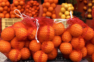 Oranges in the Market for Sale