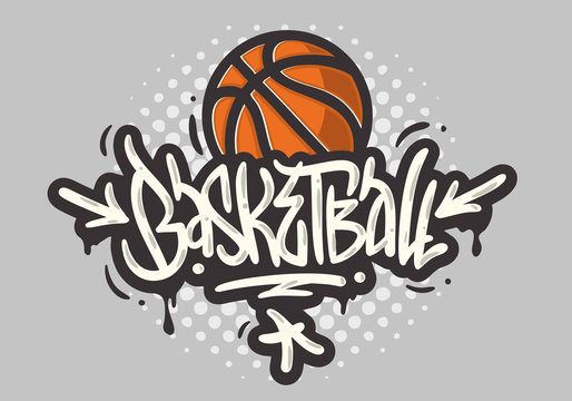 Basketball Themed Hand Drawn Brush Lettering Calligraphy Graffiti Tag Style Type Design Vector Graphic