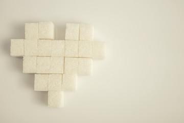 heart made of sugar cubes close up