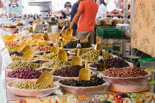 Olives at the farmers market in Arles, France