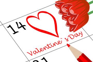 Valentin`s Tag Kalender mit Stift und Blumen