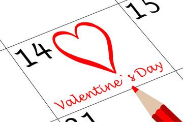 Valentin`s Tag Kalender mit Herz und Stift