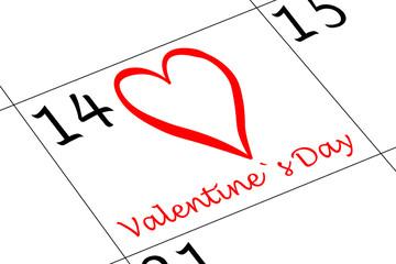 Valentin`s Tag Kalender mit Herz und Schrift