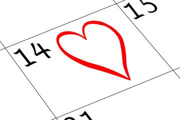 Valentin`s Tag Kalender mit Herz