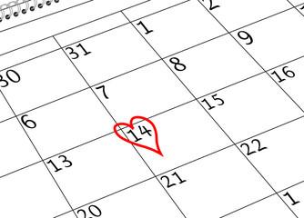 Valentin`s Tag Kalenderblatt mit Herz