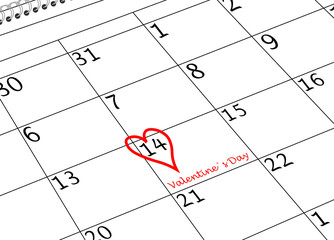 Valentin`s Tag Kalenderblatt mit Herz und Schriftzug