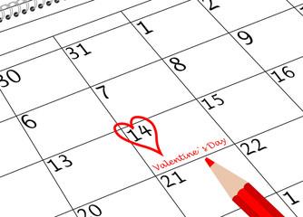 Valentin`s Tag Kalenderblatt mit Herz und Stift