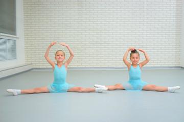 Little girls dancing ballet in studio. Young ballerinas gracefully posing at dance school, copy space