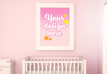 Framed Print in Baby's Room Mockup