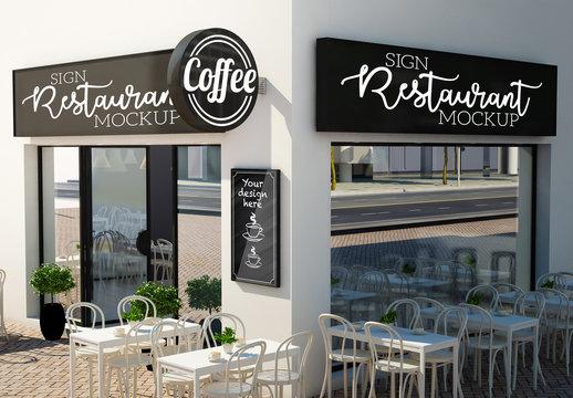 Outdoor Café or Restaurant Signage  Mockup