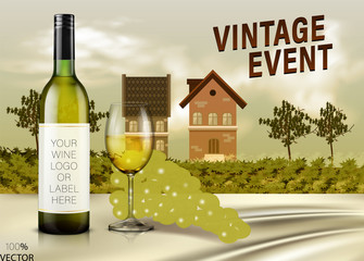 Wine and vineyard concept. Rural landscape overlooking a farmhouse, vineyard, fields and hills. All objects are divided into layers. Poster in flat design.