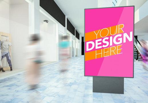 Advertising Kiosk in Mall Mockup