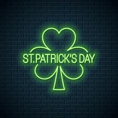 Patricks day neon banner. Patricks shamrock clover