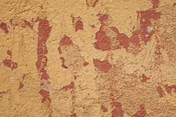 Old grunge weathered cracked plastered wall closeup as background