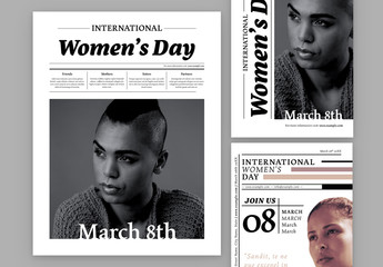 International Women's Day Newsletter and Flyer Layouts