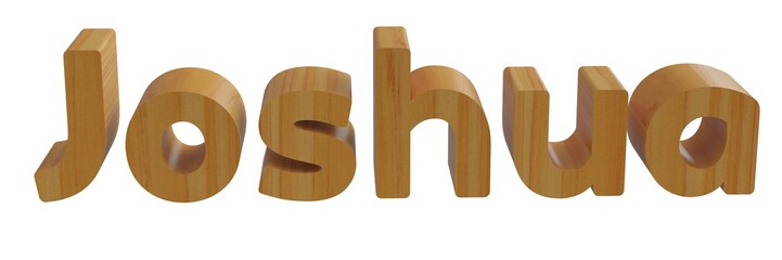 joshua in 3d name with wooden texture isolated