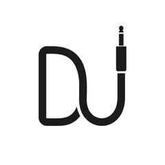 Isolated Dj logo. Wire cable audio jack music logotype. Musical icon on white background