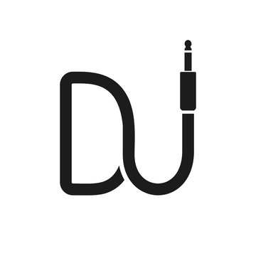 Isolated Dj logo. Wire cable audio jack music logotype. Musical icon on white background