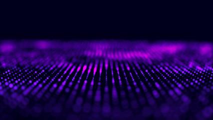 Violet computer technology background. Big data visualization. Technology landscape. Futuristic illustration. 3d rendering.