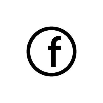 Letter F. Flat outline web icon. facebook social network logo. Vector  symbol EPS10