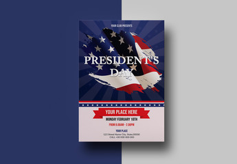 President's Day Flyer Layout with Flags