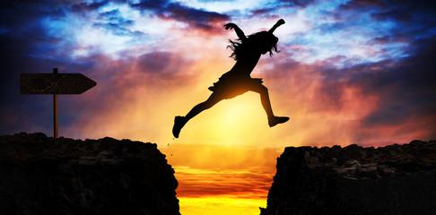 Brave teen jumps the crevasse
