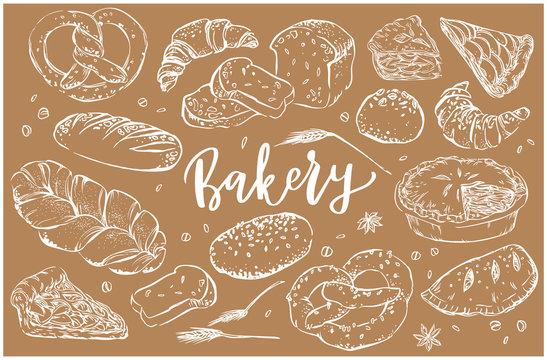 Hand drawn bakery clip art set