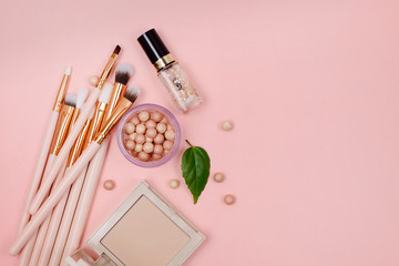Cosmetics and makeup brushes