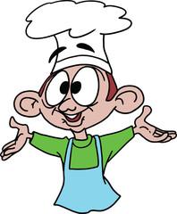 A young cartoon chef vector illustration