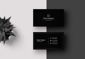 Business Card Layout with Black Background
