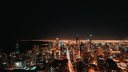 Night sky picture of Chicago