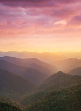 Mountain valley during sunset. Natural summer mountain landscape. Forest and mountans. Mountain-image..