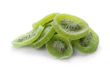 Slices of kiwi on white background. Dried fruit as healthy food