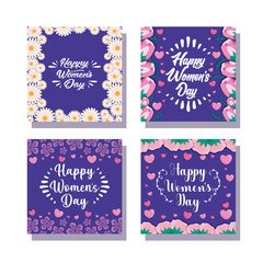 cards of happy women day with flowers