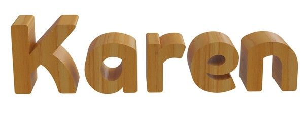 karen in 3d name with wooden texture isolated