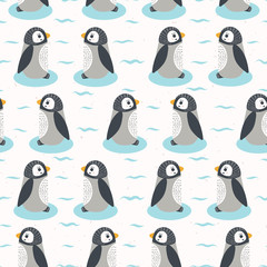 Cute cartoon penguin chicks vector illustration. Seamless repeating pattern . Hand drawn kawaii animal characters. For nursery all over print, new baby shower background, wildlife zoo textiles.