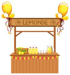 Isolated lemonade stall on white background