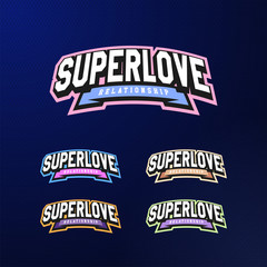 Sport emblem typography set. Super love logo for your t-shirt. Logotype collection