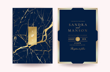 Wall Mural - Luxury indigo marble wedding invitation cards. Can be adapt to covers design, RSVP, brochure, Packaging, Magazine, Poster and Greeting cards. Vector