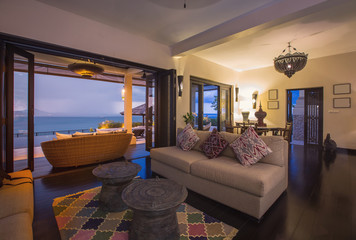 Luxury villa living room interior. Sea view